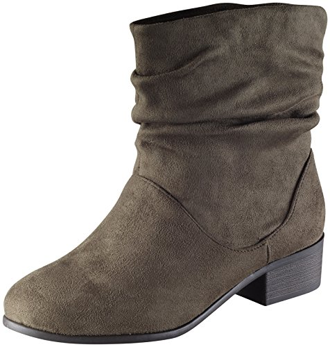 Khaki Energy Women's Slouchy Toe Round Boot Soda Sueded 1aOwUgqO