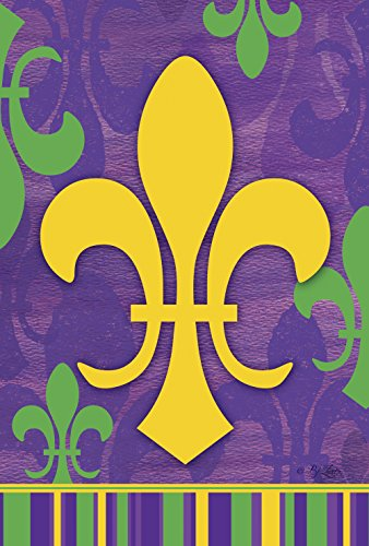 Toland Home Garden Fleur De-Lis 28 x 40 Inch Decorative Mardi Gras Classic Design Collage House Flag