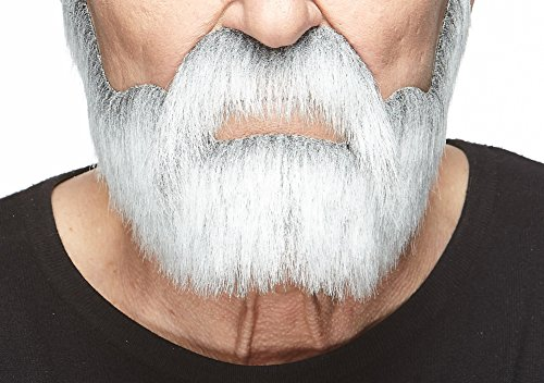 Mustaches Self Adhesive, Novelty, Nobleman Fake Beard and Fake Mustache, False Facial Hair, Costume Accessory for Adults, Gray with White Color]()