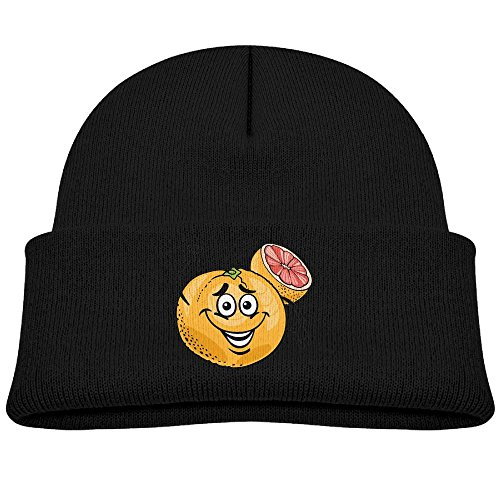 Tongbu Red Grapefruit Fruit Cartoon Kids Winter Warm Knitted Hat Fashion Wool Caps Beanie Children Girls Boys Knit Cap Black