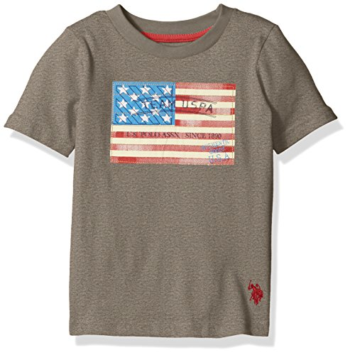 U.S. Polo Assn. Boys' Crew Neck Iconic Graphic Logo T-Shirt,Medium Heather Gray H4SE400MRV,3T Kids Graphic Polo