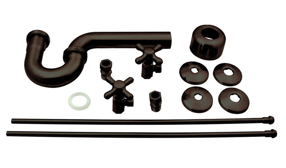 Westbrass Lavatory Kit Traditional Pedestal Cross Handles D1838L-12, Oil Rubbed Bronze by Westbrass