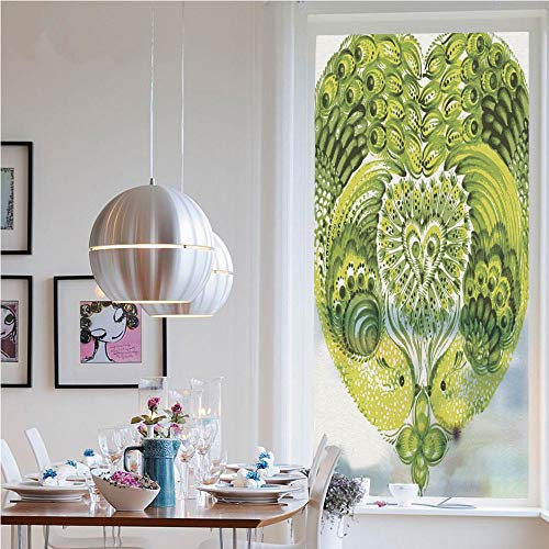 RWNFA No Glue Static Cling Glass Sticker,Heart Shaped Peacock Feathers Paradise Animal with Clover Flower Zen Print(23