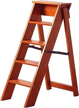 YXX-Taburete escalera 39,3 Pulgadas de Alto Taburete Plegable, Escalera de Madera de 5 peldaños para Cocina, Sala de Estar y jardinería al Aire Libre -100 kg de Capacidad: Amazon.es: Electrónica