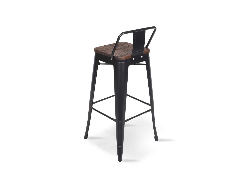chaise de bar Tabouret m/étal et bois haut hauteur 76cm parfait pour table de 100 cm et plus Lot de 4 Tabourets de bar en m/étal noir mat et assise en bois fonc/é avec dossier KOSMI