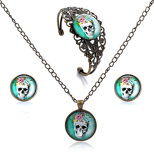 LUREME Time Gem Series Disc Charm Stud Earrings Hollow Flower Open Bangle Bracelet and Pendant Necklace Jewelry Sets for Women and Girls (09000456) (Skull)