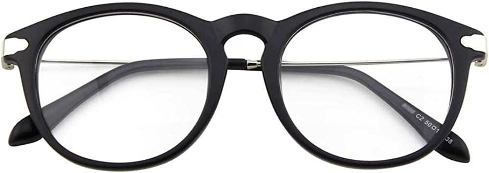 Fashion Metal Temple Horn Rimmed Clear Lens Frame Optical Retro Glasses Eyewear