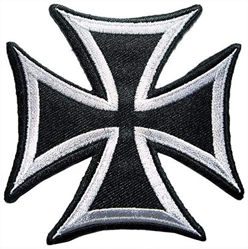 Patch Portal Maltese Cross Fire Large Badge Emblem 8 Inch Embroidery Design Black White Gothic Celtic Sign Tattoo Pattern Embroidered Back Patches Biker Motorcycle DIY Applique Sew Iron On Jacket Vest