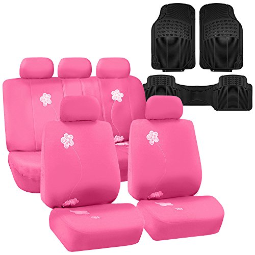 (FH GROUP FH-FB053115 Floral Embroidery Design Full Set Car Seat Covers Pink Color, Airbag compatible and Split Bench with F11306 Vinyl Floor mats- Fit Most Car, Truck, Suv, or Van)