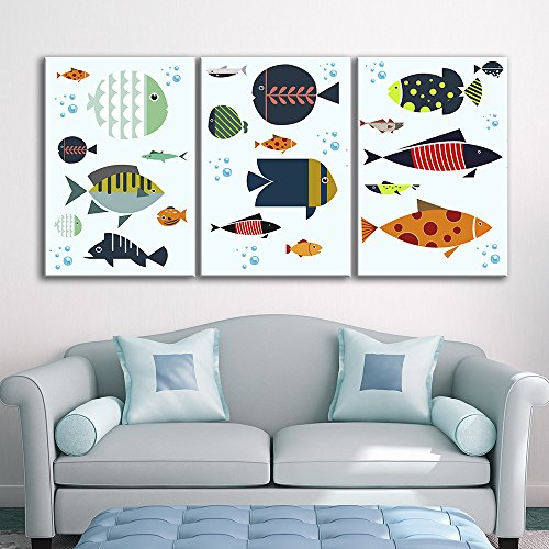 3 Panel Colorful Fish Pattern x 3 Panels