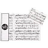 Mozart White Gift Wrap, pack of 3 sheets and 3 tags