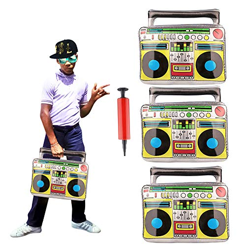3 Pieces 17.2inch Big Inflatable Boom Box Toy With Cardboard for 80's 90's Themed Party,Adults Costume Accessories and Hip Hop ()