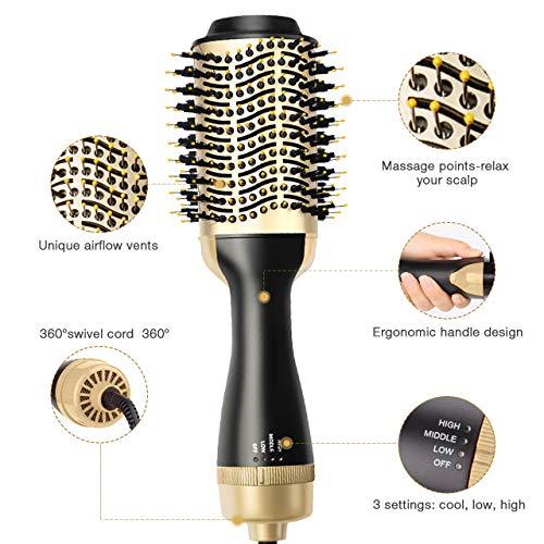 AMZGIRL Hair Dryer Brush Hot Air Brush, One Step Hair Dryer & Volumizer 4 in 1 Brush Blow Dryer Styler for Rotating Straightening, Curling, Salon Negative Ion Ceramic Blow Dryer Brush Gold