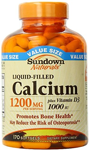 Sundown Naturals Calcium plus Vitamin D3, 1200mg, Softgels 170 ea (Pack of 6) by Sundown Naturals
