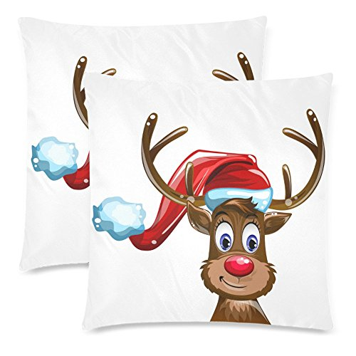 InterestPrint Custom 2 Pack Funny Christmas Reindeer 18x18 Cushion Pillow Case Cover Twin Sides, Fawn in the Hat of Santa Claus Cotton Zippered Throw Pillowcase Protector Set Decorative