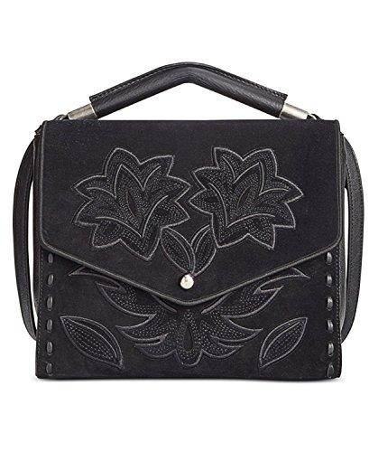 Sam Edelman Sophie Leather Suede Shoulder Handbag Black Medium