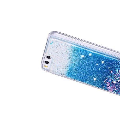 Funda Xiaomi Mi 6, Caselover 3D Bling Silicona TPU Arena Movediza Carcasa para Xiaomi 6 Glitter Líquido Brillar Lentejuelas Suave Transparente Cristal Protección Caso Anti Arañazos Tapa Choque Absorci Azul