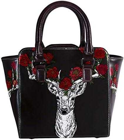 Borsa a tracolla da donna in pelle con cervo con motivo floreale a corna di rosa