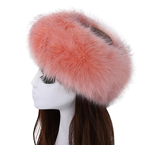 Women's Luxurious Faux Fur Headband Elastic Warm Earmuff Snow Headwrap Hat Medium Pink ()