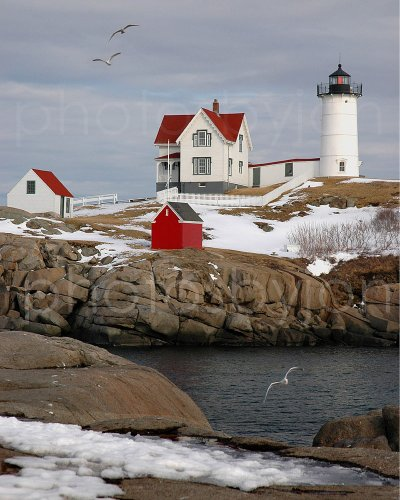Nubble Light Cape Neddick Lighthouse Color CHOOSE FROM FIVE SIZES Maine Photographic Print Photo Picture Poster Standard Frame Size