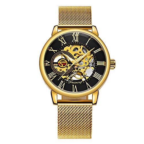 Caluxe Luxury Golden Mechanical Watch Men Skeleton Dial Mesh Stainless Strap Business Royal Design Wristwatch