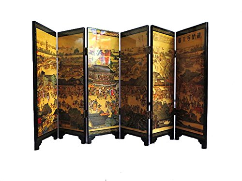 FIREBUGI 6 Panel Lacquer Painting Small Folding Screen Decoration Home Desktop Divider or as a Gift All Rivers Run to The Sea