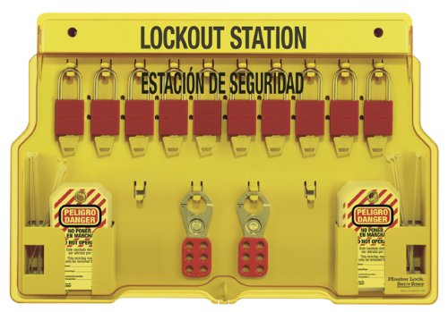 Master Lock Spanish/English 10-Padlock Capacity Lockout Station with Cover, Includes 10 Aluminum ()