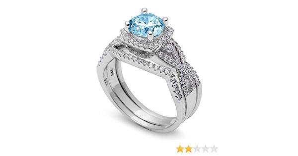 Halo Three Piece Trio Set Wedding Ring Infinity Round Simulated Blue Aquamarine CZ 925 Sterling Silver