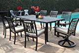 Outdoor Cast Aluminum Patio Furniture 9 Piece Heaven Collection Dining Set with 2 Swivel Rockers CBM1290 For Sale