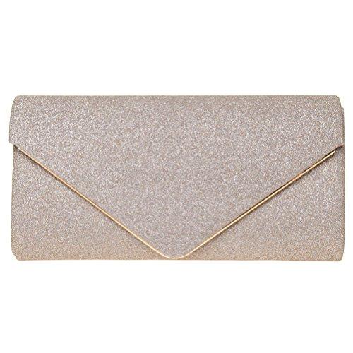 FASHIONROAD Evening Clutch, Womens Shining Envelope Clutch Purses, Handbag For Wedding & Party Gold - Clutch Purse