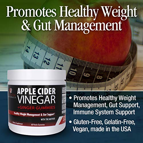 Genceutic Naturals – Apple Cider Vinegar with Ginger Gummies Healthy Weight Management, with The Mother, Dietary Supplement, Supports Healthy Gut, Digestion, Detox, Cleanse, Pectin Gummies
