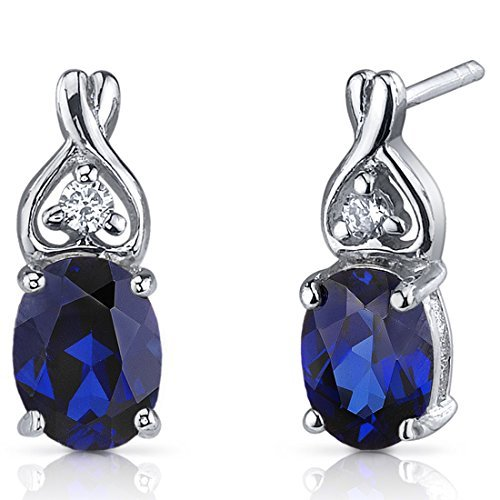 Created Blue Sapphire Earrings Sterling Silver CZ Accent by Peora