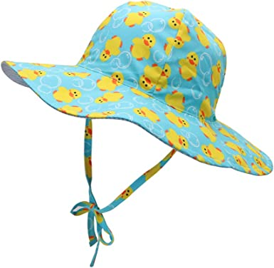 Unisex Baby Toddler Kids Sun Hats Reversible Summer Adjustable Elastic Bucket Hat with uv Protection