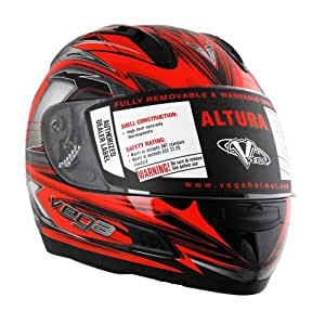 Vega Altura Helmet with Vantage Graphic (Neon Red, XX-Large)