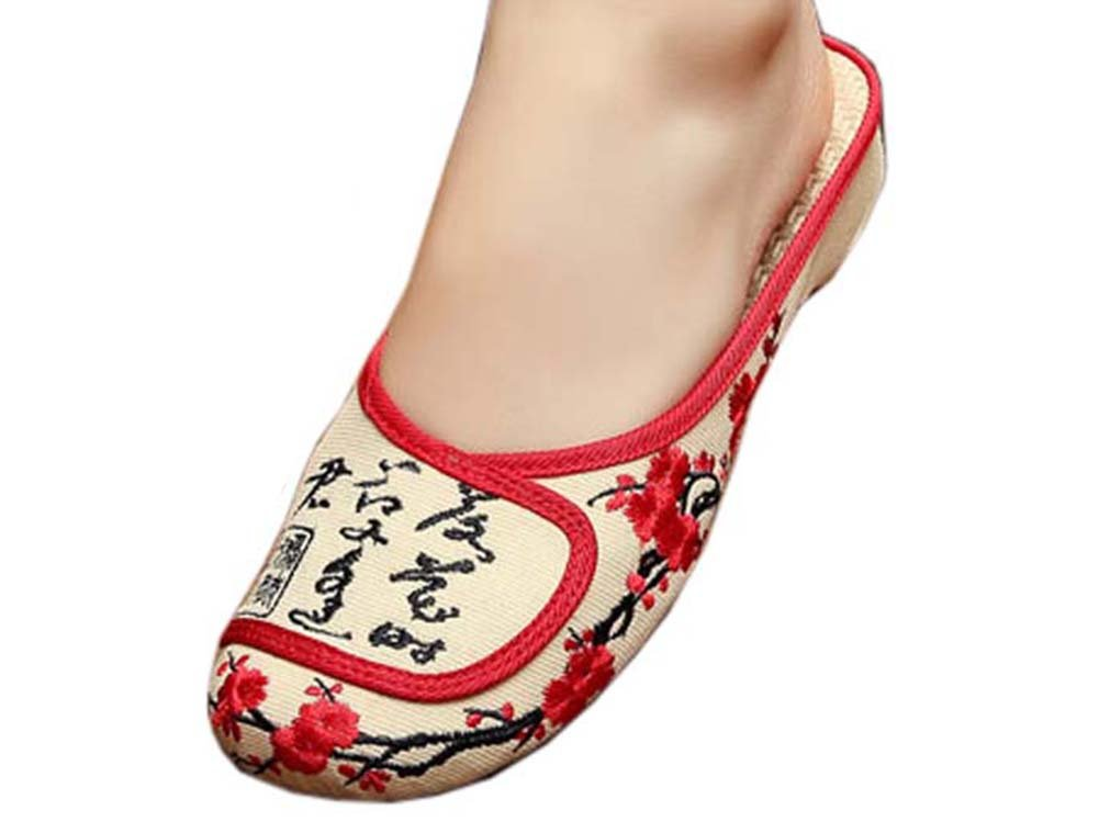 Womens Embroidered Summer Slippers Wedges Sandals Shoes for Cheongsam, 19