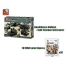 Bundle-Sluban Land Forces II Amphibious OnRush - Tank Hummer helicopter B0309 and 10 x WWII mini figure B0580.(Brand New in Original English Box) 100% LEGO Compatible Educational Toy -Building Bricks
