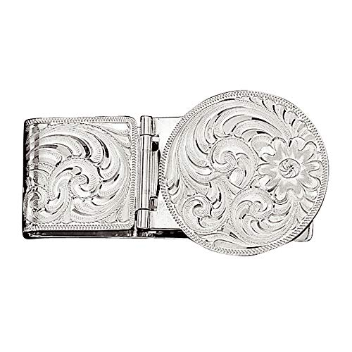 (Montana Silversmiths Silver Engraved Hinged Money Clip, 1.25