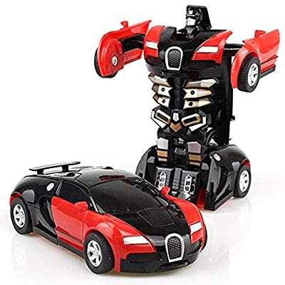 Angoo Beauty 2 in 1 Robot Toy Car- Car Robot for Kids, Cartoon Crash Deformation Transform Robot Car Toy Game Gift for Kids