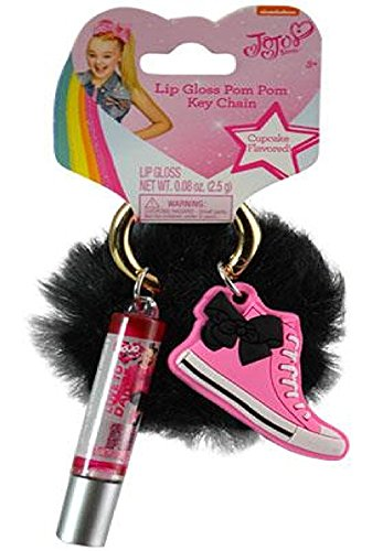 JoJo Siwa Lip Gloss & Fur Ball Keychain on Card-SHOE (SHOE) (Shoe Lip Gloss Keychains)