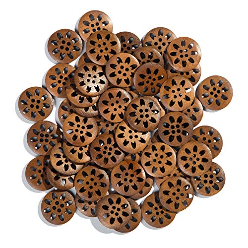 (Mahaohao Craft Pierced Flower Wood Buttons Sewing Snowflake Carved 4 Holes Brown 25mm (50 Pack))