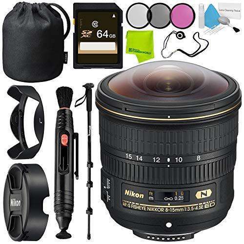 Nikon AF-S Fisheye NIKKOR 8-15mm f/3.5-4.5E ED Lens + Fibercloth + Lens Capkeeper Bundle