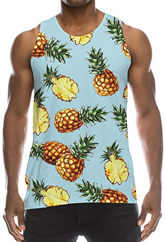 Mens Loose Fit Muscle Tank Singlet Tops Blue Turquoise Cyan Pineapple Green Leaves Cool Design Graphic Retro Wife-Beater Vest Fashion School Baggy Cut Off Tees Shirt for Dude Bro Dad Guys