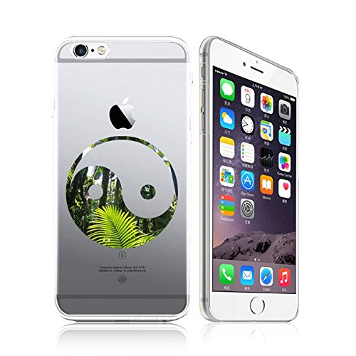 iPhone 6 / 6S Compatible , Colorful Flexible Ultra Slim Translucent iPhone Case Cover -  Tai Chi Ying Yang Green Nature
