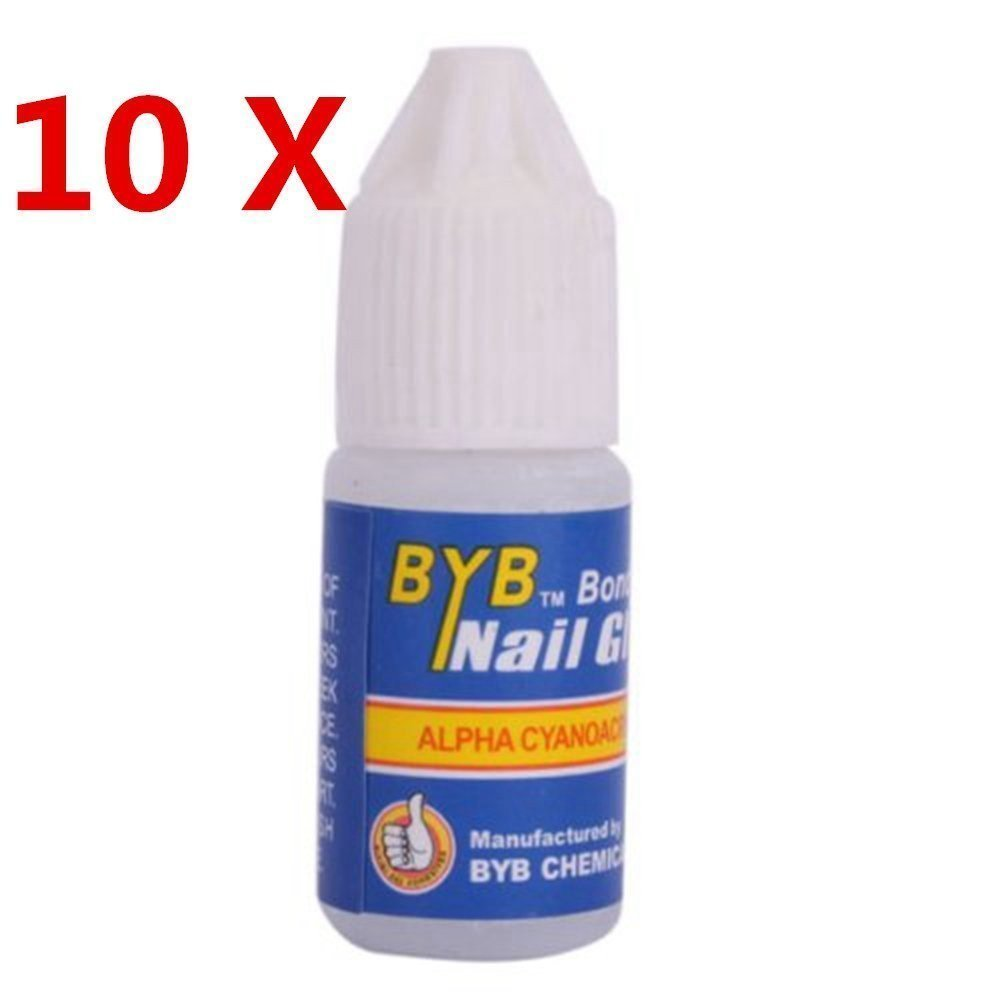 10 x 3g Professional Strong Glue for False Acrylic Nail Art Tip by BYB CHEMICAL CO., LTD.