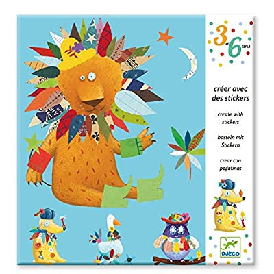 DJECO Action Games and Reflections Educational Games DJECOCreate with Animal Stickers, Multi-Colour (100): Toys & Games