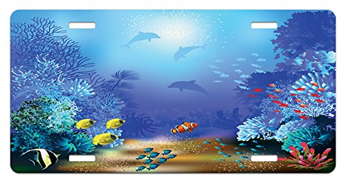 Underwater Coral Reef Polyps Algae Dolphins and Goldfishes Bubbles in Deep Ocean Print 5.88 X 11.88 High Gloss Aluminum Novelty Plate Blue Lunarable Underwater License Plate