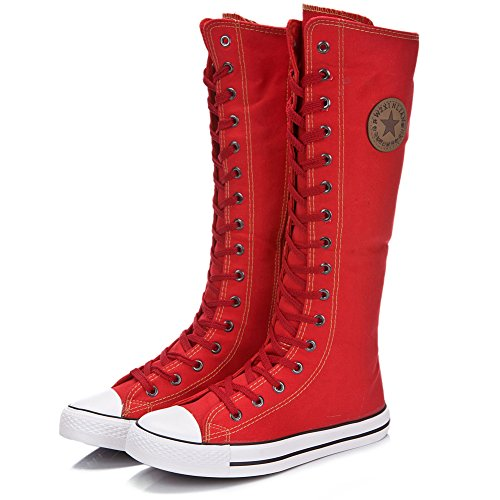 rismart Women's Knee High Lace Up Zip Gothic Fashion Canvas Boots Red loZkTgB
