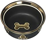 Ethical Stoneware Dish 6885 Ritz Copper Rim Dog Dish Black, 7 Inch