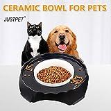 JUSTPET No Spill Ceramic Pet Bowl Dog Cat Food Water Bowl, No Splash Anti Skid No Mess Eating Drinking Bowl for Dogs Cats (Large)