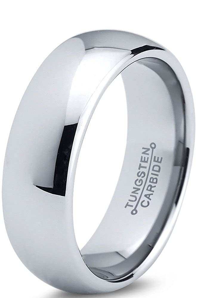 Tungsten Wedding Band Ring 7mm for Men Women Comfort Fit Domed Round Polished Charming Jewelers CJCDN-175